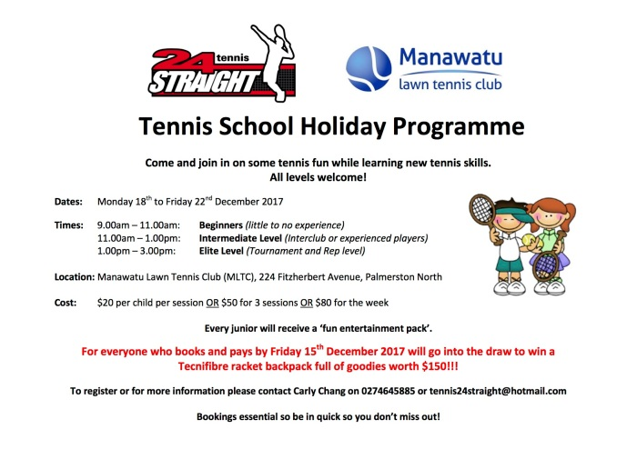 24 Straight Tennis School Holiday Programme 18-22 December 2017