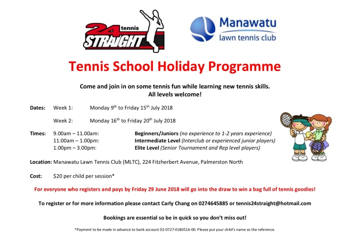 24 Straight Tennis School Holiday Programme 9 to 20 July 2018