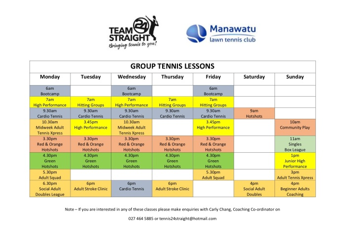 24 Straight Tennis Group Tennis Lessons Schedule