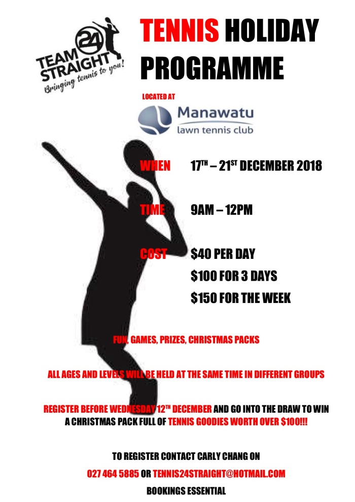 Tennis Holiday Programme 17 to 21 December 2018
