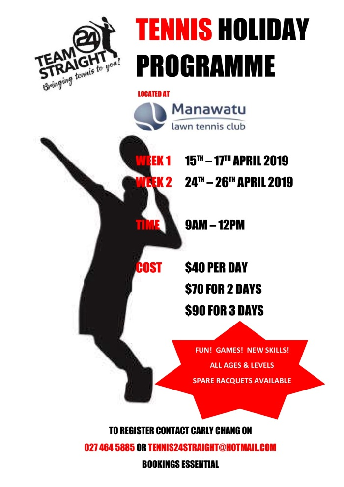 Tennis School Holiday Programme 15 to 26 April 2019